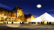 Louvre main entry night