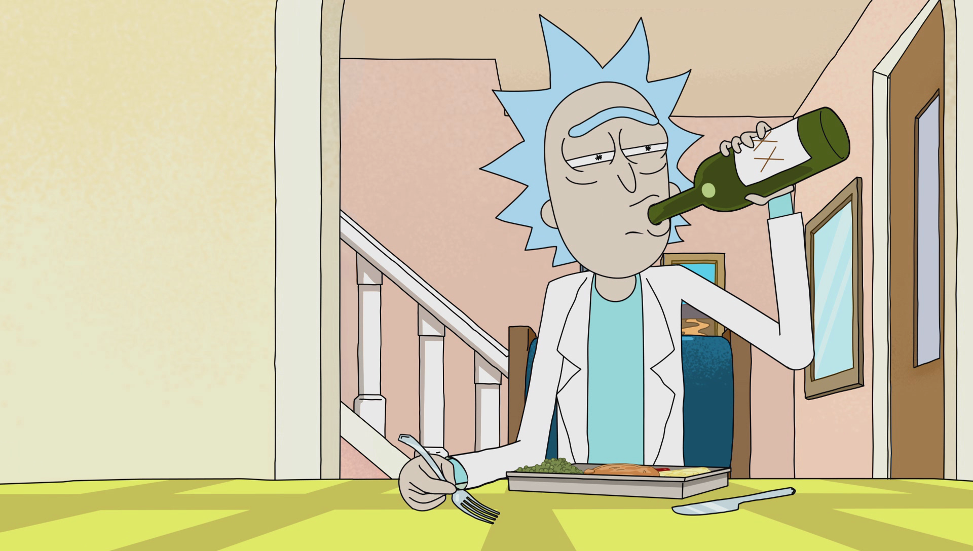 Image result for rick drinking