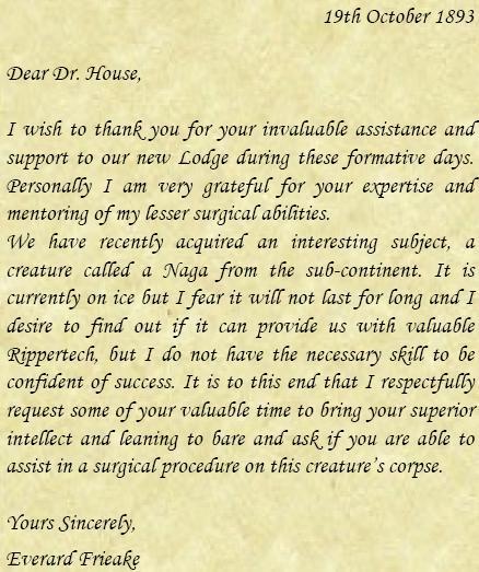 Letter from Everard Friake