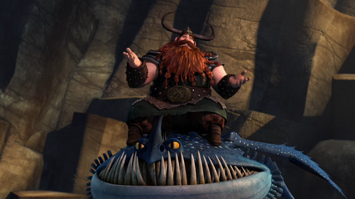Stoick riding Thornado