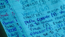 Season 1 Episode 3 Body Double Polly's name in the playbook