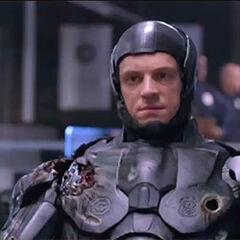 Alex Murphy in RoboCop's black armor.
