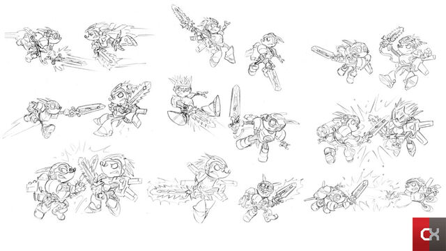 File:Rocket Knight (2010) Concept Artwork Sparkster Fighting Axle Gear.jpg