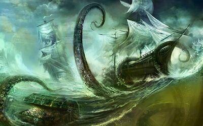 Fantasy octopus ship 1440x900