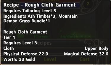 Recipe rough cloth garment d