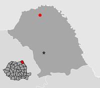 Harta României cu Judeţul Botoşani indicat