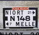 Carte de localisation des Panneaux Michelin des Deux-Sèvres (79)