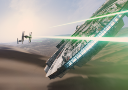 Millennium Falcon vs TIE fighters.png
