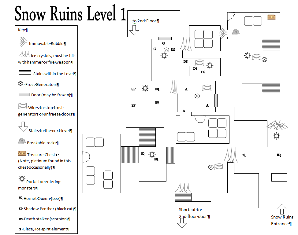Snow Ruins Level 1 Map