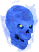 Flaming skull (blue) chathead