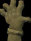 Broken hand detail