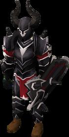 Een speler die black trimmed armour draagt.