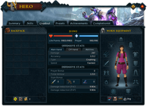 Hero (Loadout) interface