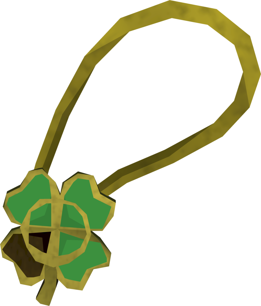 Shiny three-leaf clover necklace detail