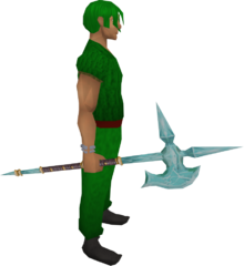Crystal halberd equipped