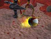 Beach ball on fire