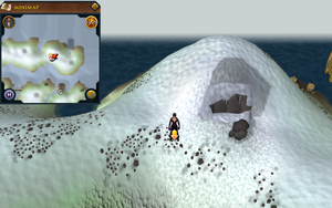 Scan clue Fremennik Isles outside eastern cave on northern snowy island