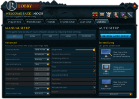 RuneScape Lobby Options