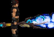 Necromancer's steam staff equipped