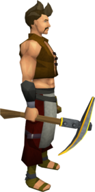 Gilded steel pickaxe equipped
