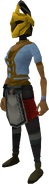 Rune heraldic helm (Varrock) equipped