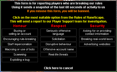 RSC report abuse screen