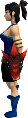 Red dragonhide shield equipped