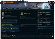 Powers (Combat Settings) interface