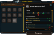 Crafting summoning pouch interface