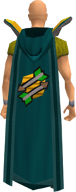 Retro hooded fletching cape equipped