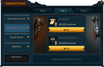 Requisitions Emotes and Titles (Armadyl Tier 2)