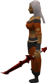 Off-hand dragon longsword equipped