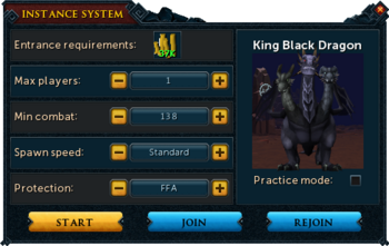 Instance creation interface