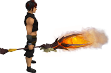 Necromancer's fire staff equipped