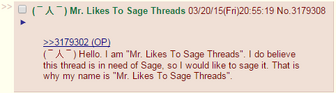 Mr. likes to sage threads