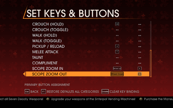 Saints Row Gat out of Hell - Main Menu - Options - Controls - Set Keys & Buttons - On Foot III
