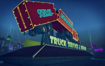 Truck Yard in Saints Row 2 - Semi-Broken sign