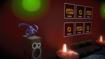 Purple Cabbit on speaker inside Kingdom Come Records in Johnny Gat's Simulation in Saints Row IV