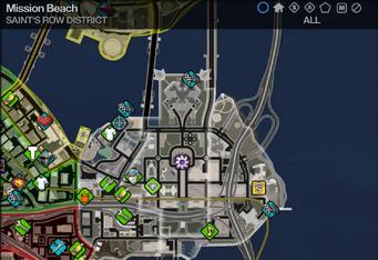 Map in Saints Row 2 - Saint's Row - Mission Beach