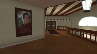 Lopez Mansion in Saints Row - Upper floor hallway with Angelo painting