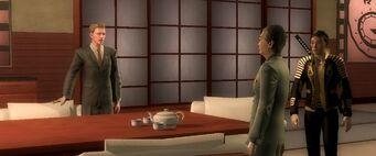 Dane Vogel talking to the Ajukis in the Changing the Deal cutscene