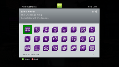 Achievements menu in Saints Row IV