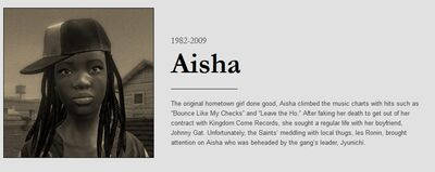 Aisha obituary with dates