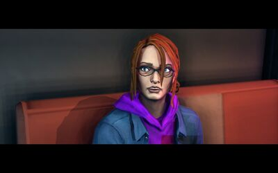 Kinzie sitting in Smiling Jacks in Saints Row The Third