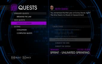 Quests Menu - Executive Orders
