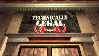 Technically Legal sign above door