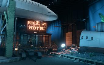 Hangar 18.5 - plane crash set from behind