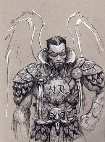 File:Johnny Gat Concept Art - Gat out of Hell Barbarian look - asian characters on chestplate.jpg