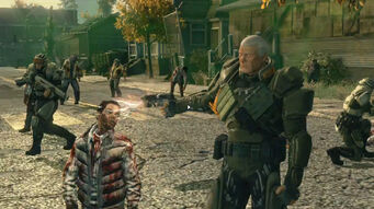 Cyrus shooting a Zombie in the end cutscene of Zombie Attack