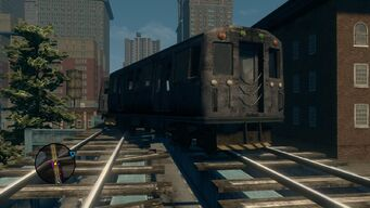 Front view of broken Train in Sunset Park in Saints Row The Third